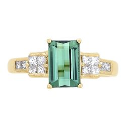 1.89 ctw Green Tourmaline and Diamond Ring - 14KT Yellow Gold