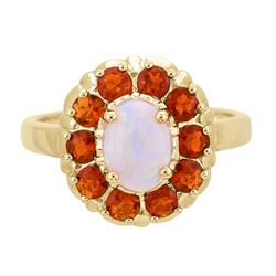 0.65 ctw Opal and Fire Opal Ring - 14KT Yellow Gold