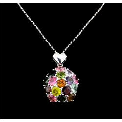 12.00 ctw Tourmaline Pendant with Chain - 14KT White Gold