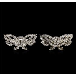 1.00 ctw Diamond Cufflinks - 14KT White Gold