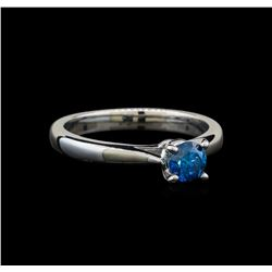 14KT White Gold 0.47 ctw Round Cut Fancy Blue Diamond Solitaire Ring