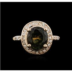 4.76 ctw Tourmaline and Diamond Ring - 14KT Rose Gold