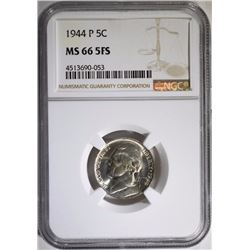 1944-P JEFFERSON NICKEL, NGC MS-66 FULL STEPS  RARE!