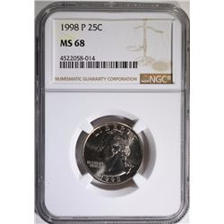 1998-P WASHINGTON QUARTER, NGC MS-68  POPULATION OF ONLY 26, NONE HIGHER
