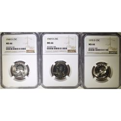 1968-D, 1969-D & 1970-D WASHINGTON QUARTERS, NGC MS-66