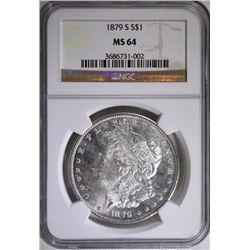 1879-S MORGAN SILVER DOLLAR, NGC MS-64