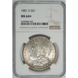 1881-S MORGAN SILVER DOLLAR, NGC MS-64+