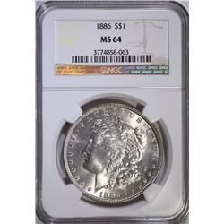 1886 MORGAN SILVER DOLLAR NGC MS-64