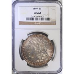 1897 MORGAN SILVER DOLLAR - NGC MS64 COLOR !