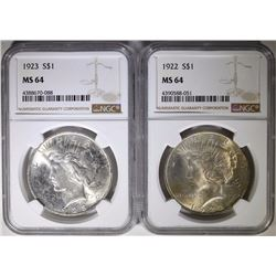 1922 & 1923 PEACE SILVER DOLLARS NGC MS64