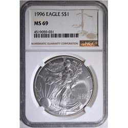 1996 AMERICAN SILVER EAGLE, NGC MS-69  KEY DATE