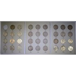 COMPLETE SET FRANKLIN HALF DOLLARS - 35 COINS, 1948-1963 VERY NICE CIRCULATED