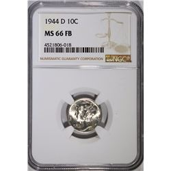 1944-D MERCURY DIME - NGC MS 66 FB