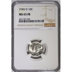 1945-D MERCURY DIME - NGC MS 65 FB