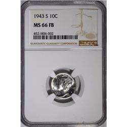 1943-S MERCURY DIME - NGC MS 66 FB