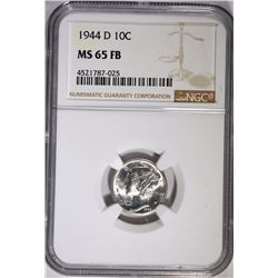 1944-D MERCURY DIME - NGC MS 65 FB