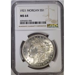 1921 MORGAN SILVER DOLLAR - NGC MS64