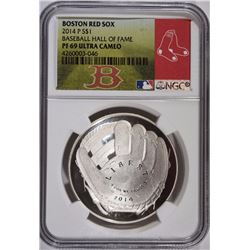 2014 P BASEBALL HOF SILVER DOLLAR - NGC BOSTON RED SOX LABEL - PF 69 ULTRA CAMEO