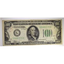1934 $100 FEDERAL RESERVE NOTE - VF NICE