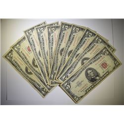 10 pc NICE $5 RED SEAL NOTES - 1963 and OLDER