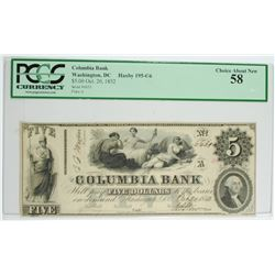 OCT. 20 1852 COLUMBIA BANK  $5.00 NOTE, PCGS  AU-58
