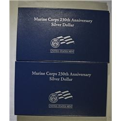 2005 PROOF & UNC MARINE CORPS 250th ANNIVERSARY  COMMEM SILVER DOLLARS BOX/COA