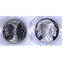 2001 BUFFALO 2pc SET - PROOF & BU SILVER DOLLARS - BOX / COA