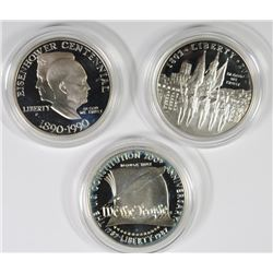 Pf COMMEM SILVER DOLLARS BOX/COA: 87 CONSTITUTION, 90 EISENHOWER & 02 MILITARY
