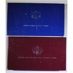 2 - COMMEMORATIVE SETS,1988 OLYMPIC SILVER PROOF $1 & 1986 2pc STATUE of LIBERTY