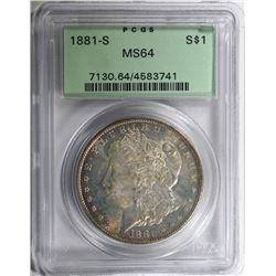 1881-S MORGAN SILVER DOLLAR PCGS MS64 GREEN LABEL