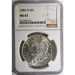 1884-O MORGAN SILVER DOLLAR NGC MS 63
