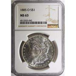 1885-O MORGAN SILVER DOLLAR NGC MS 63