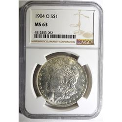 1904-O MORGAN SILVER DOLLAR NGC MS 63