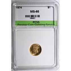 1874 INDIAN PRINCESS GOLD $1 PCSS GEM BU