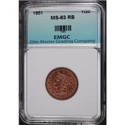 1851 HALF CENT EMGC CHOICE BU RED BROWN
