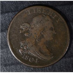 1804 HALF CENT CROSSLET 4, STEMS VF