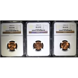( 3 ) 1954-D LINCOLN CENTS, NGC MS-66 RED NGC PRICE GUIDE=$38.00 EACH