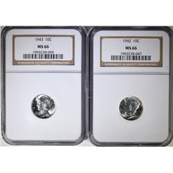 1942 & 1943 MERCURY DIMES, NGC MS66