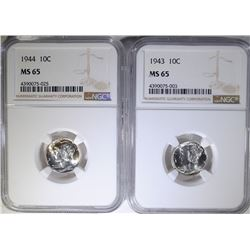 1943 & 1944 MERCURY DIMES, NGC MS-65