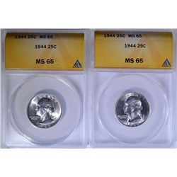 ( 2 ) 1944 WASHINGTON QUARTERS, ANACS  MS-65