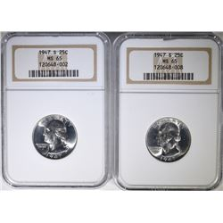 2 - 1947-S WASHINGTON QUARTERS NGC MS65