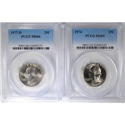 ( 2 ) PCGS GRADED WASHINGTON QUARTERS: 1974 MS-65 & 1977-D MS-66