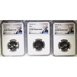 1965, 1966 & 1967 SMS WASHINGTON  QUARTERS, NGC MS-67