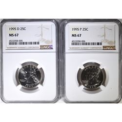 1995-P&D WASHINGTON QUARTERS, NGC MS-67