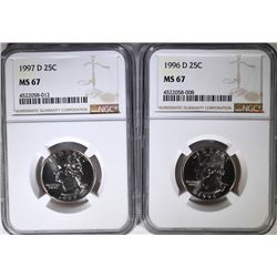 1996-D & 1997-D WASHINGTON QUARTERS, NGC MS-67