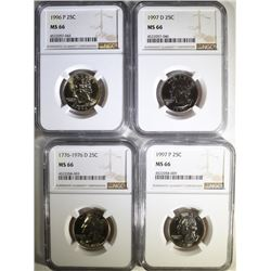 1976-D, 1997-P, 1996-P & 1997-D WASHINGTON QUARTERS, NGC MS-66