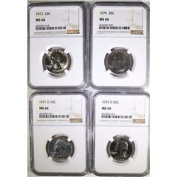 1971-D, 1972-D, 1973 & 1974 WASHINGTON QUARTERS, NGC MS-66