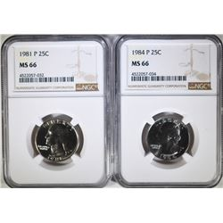 1981-P & 1984-P WASHINGTON QUARTERS, NGC MS-66