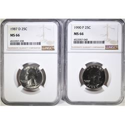 1987-D & 1990-P WASHINGTON QUARTERS, NGC MS-66