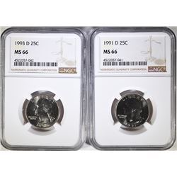 1991-D & 1993-D WASHINGTON QUARTERS, NGC MS-66
